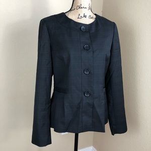 Banana Republic Black Grey Wool Blend Plaid Jacket